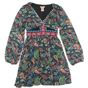 Flying Tomato Blue Green Paisley Embroidered Dress